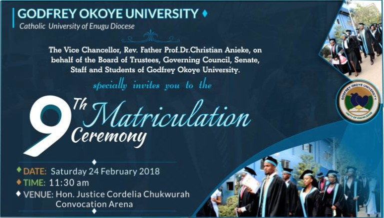 Godfrey Okoye University 9th Matriculation Ceremony Date